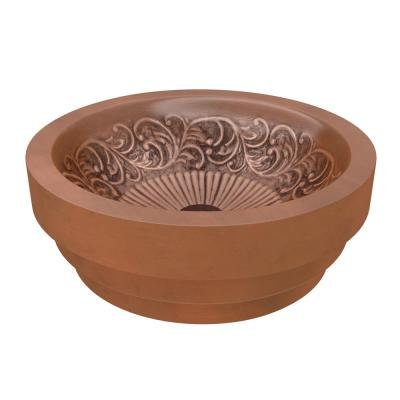 Anzzi Thessaly 17 In Handmade Vessel Sink In Polished Antique Copper With Floral Design Interior Bs 007 The Home Depot