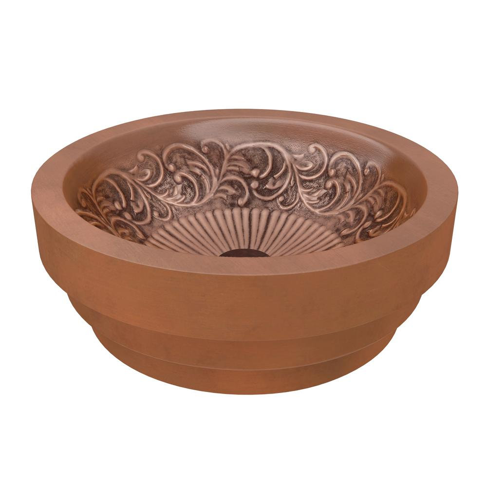 ANZZI Admiral 20 in. Handmade Vessel Sink in Polished Antique Copper with Flora Design Interior