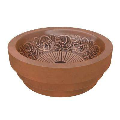 Admiral 20 in. Handmade Vessel Sink in Polished Antique Copper with Flora Design Interior