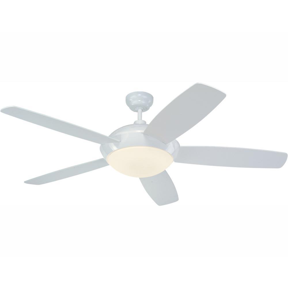 Sleek 52 in. LED White Ceiling Fan with Light Kit