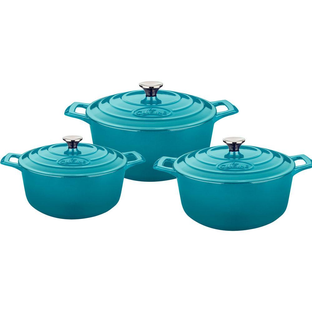 La cuisine 6 piece cast iron round casserole set with for 3 pieces cuisine
