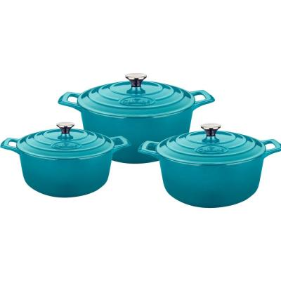 6-Piece Cast Iron Round Casserole Set with Enamel Finish in High Gloss Teal