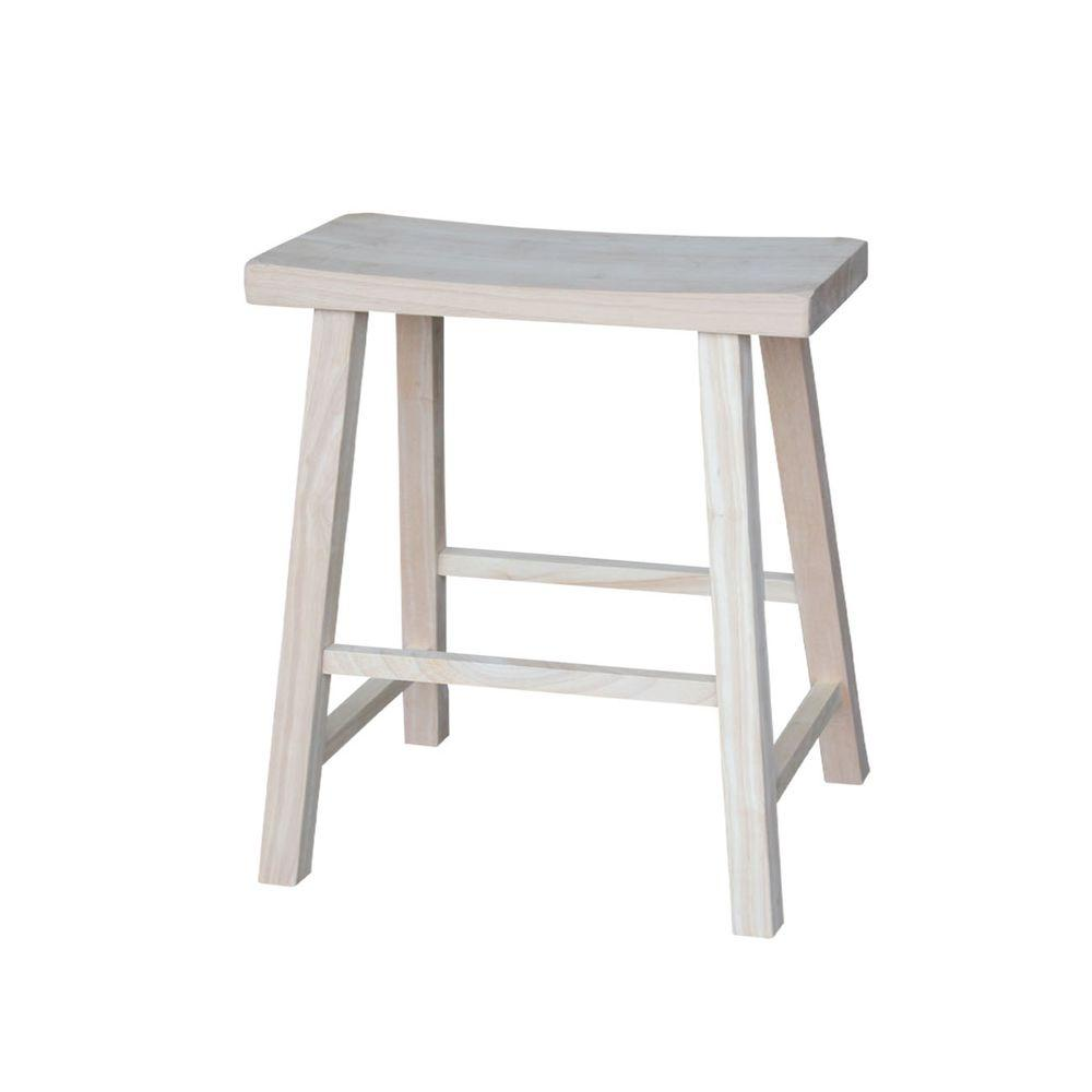 International Concepts 24 In Unfinished Wood Bar Stool 1s 682 The Home Depot