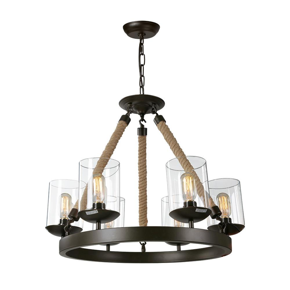LNC 6-Light Bronze Rustic Rope Glass Chandelier-A02992