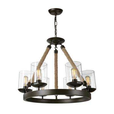6-Light Bronze Rustic Rope Glass Chandelier