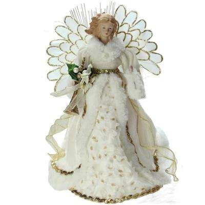 14 in. Lighted B/O Fiber Optic Angel in Cream and Gold Gown Christmas Tree Topper