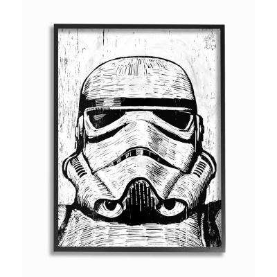 """16 in. x 20 in. """"Black and White Star Wars Stormtrooper Distressed Wood Etching"""" by Artist Neil Shigley Framed Wall Art"""