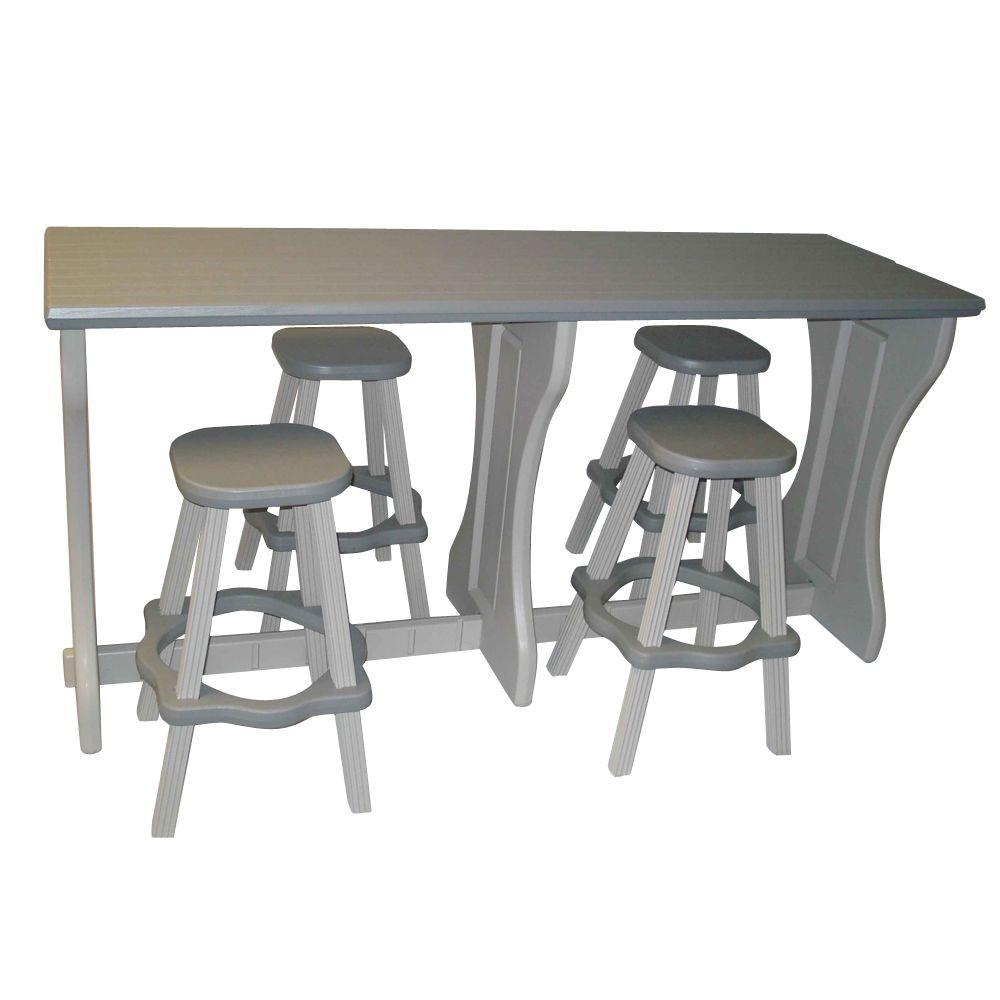 Leisure Accents Gray Resin 5-Piece Patio Bar Set