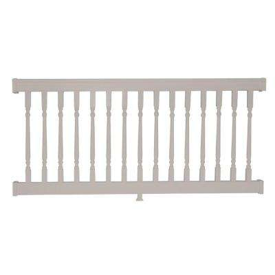 Delray 3.5 ft. H x 8 ft. W Vinyl Tan Railing Kit with Colonial Spindles