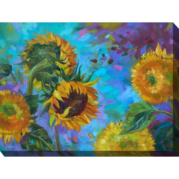 40 In X 30 In Sunflower On Blue Outdoor Canvas Wall Art