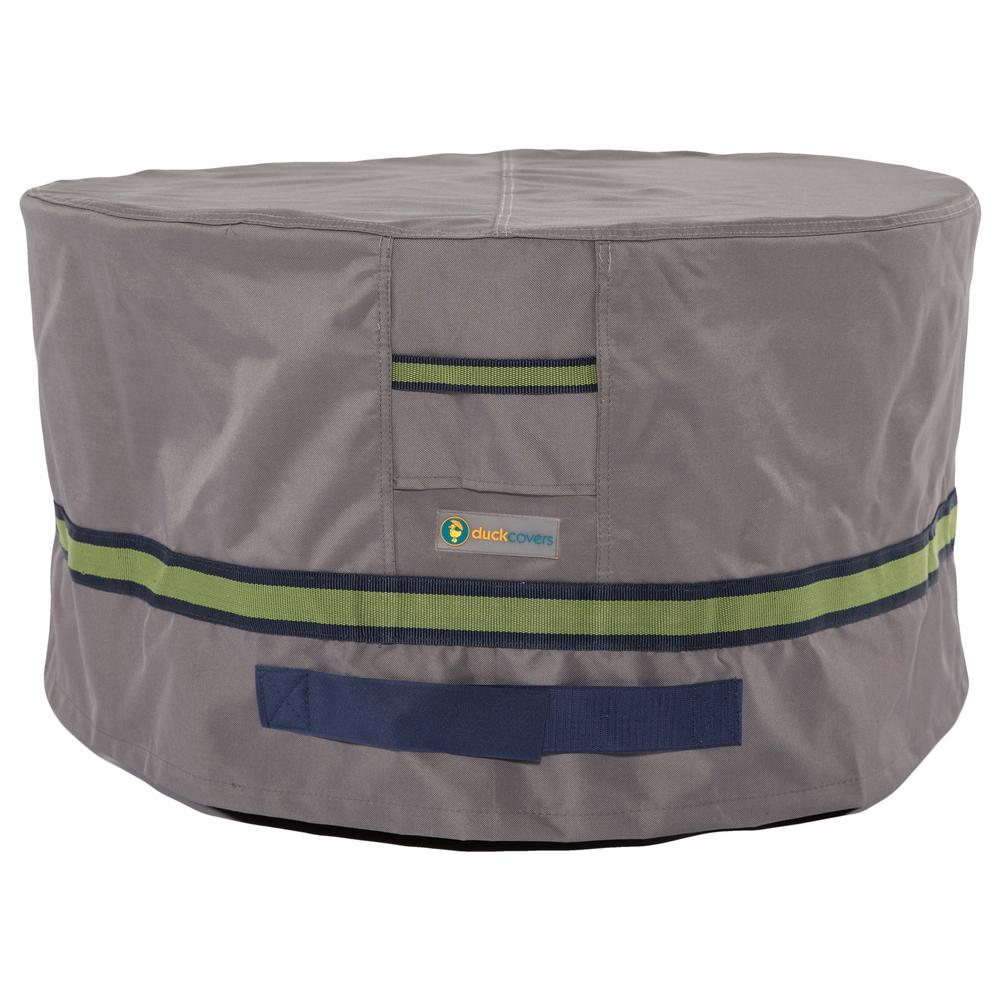 Grey round patio ottoman side table cover