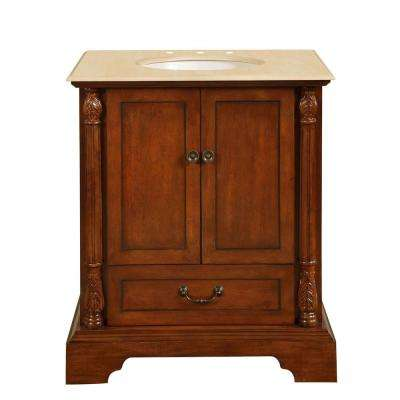 32 in. W x 23 in. D Vanity in Walnut with Marble Vanity Top in Crema Marfil with White Basin