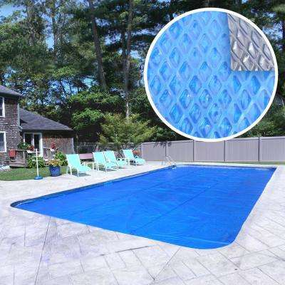 Deluxe 5-Year 18 ft. x 36 ft. Rectangular Blue/Silver Solar Cover Pool Blanket
