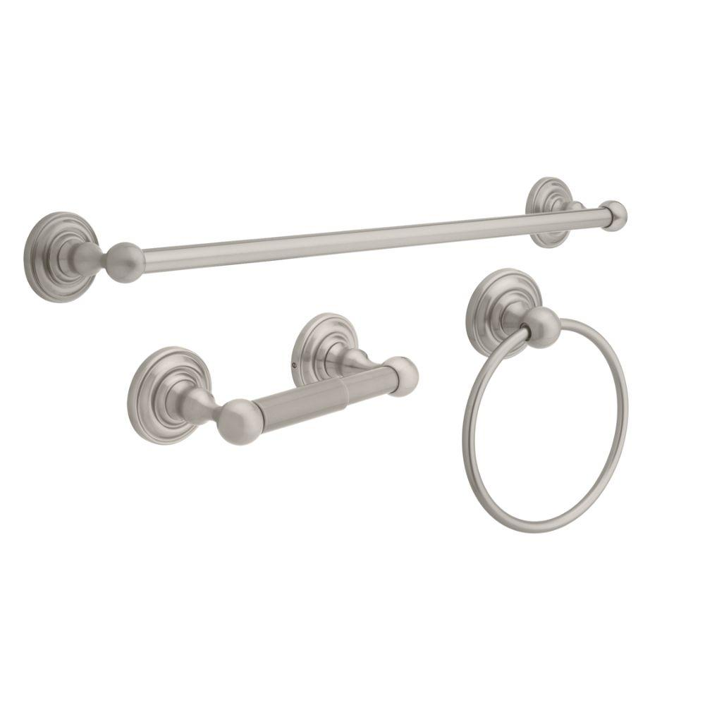 Greenwich 3 Piece Bath Hardware Set with Towel Ring  Toilet Paper Holder  and 24. Bathroom Hardware   Bath Accessories   The Home Depot