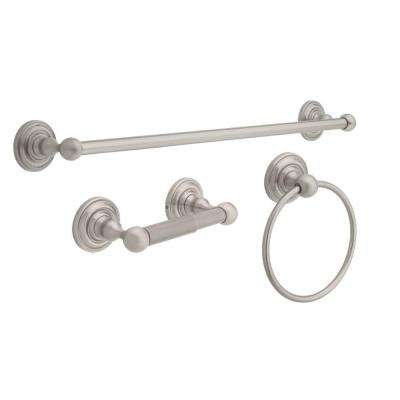 "Greenwich 3-Piece Bath Hardware Set with Towel Ring, Toilet Paper Holder and 24"" Towel Bar in SpotShield Brushed Nickel"