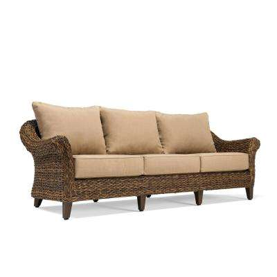 Bahamas Wicker Outdoor Sofa with Sunbrella Canvas Heather Beige Cushion