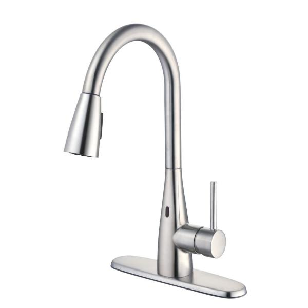 Vazon Touchless Single-Handle Pull-Down Sprayer Kitchen Faucet with TurboSpray and FastMount in Stainless Steel