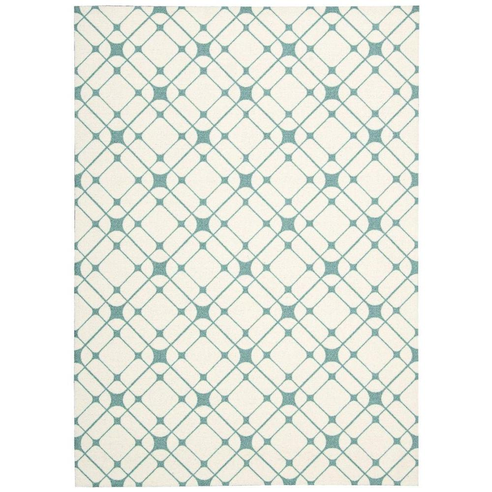 Nourison Overstock Enhance Ivory Turquoise 4 ft. x 6 ft. Area Rug
