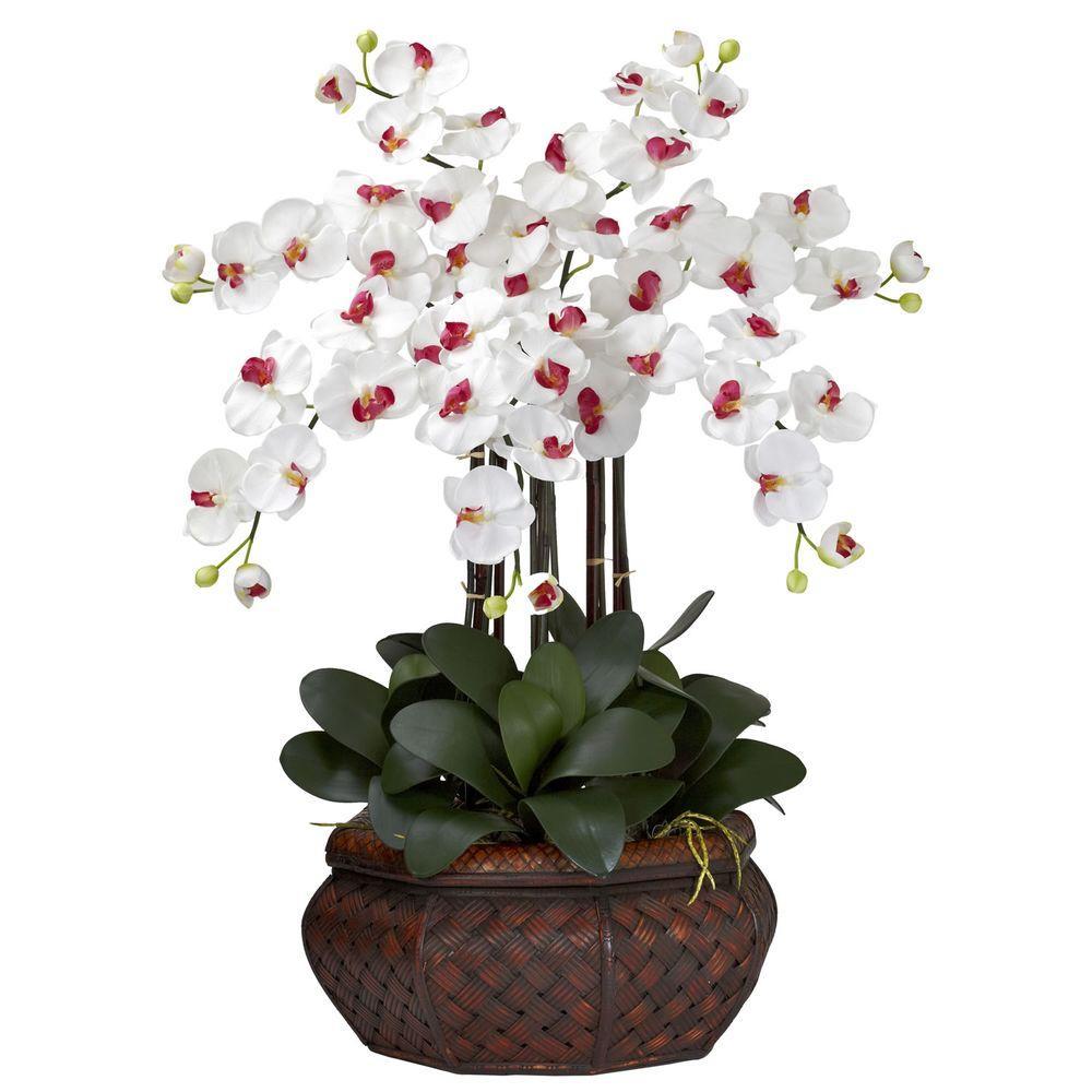 30 in. H White Large Phalaenopsis Silk Flower Arrangement
