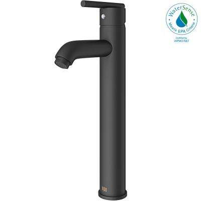 Single Hole Single-Handle Vessel Bathroom Faucet in Matte Black