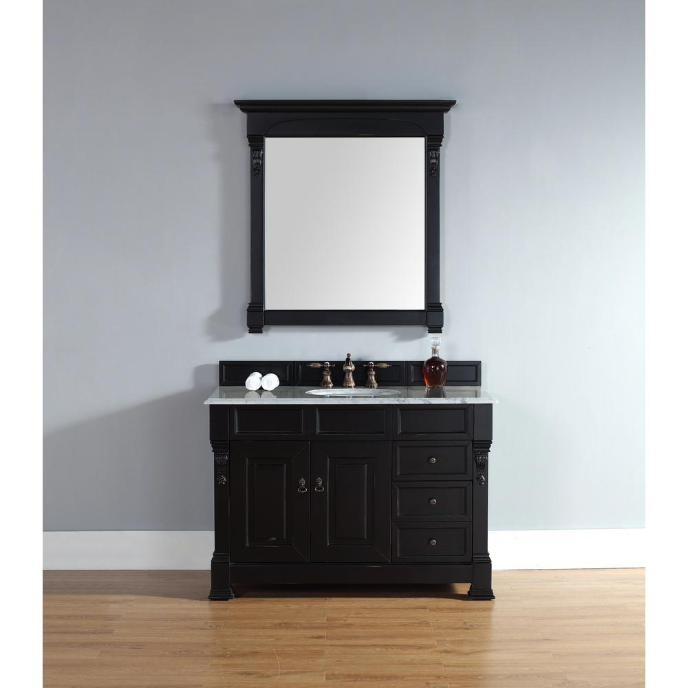James Martin Vanities Brookfield 48 in. W Single Bath Vanity in Antique Black with Marble Vanity Top in Carrara White with White Basin
