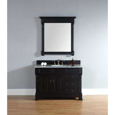 Brookfield 48 in. W Single Bath Vanity in Antique Black with Marble Vanity Top in Carrara White with White Basin