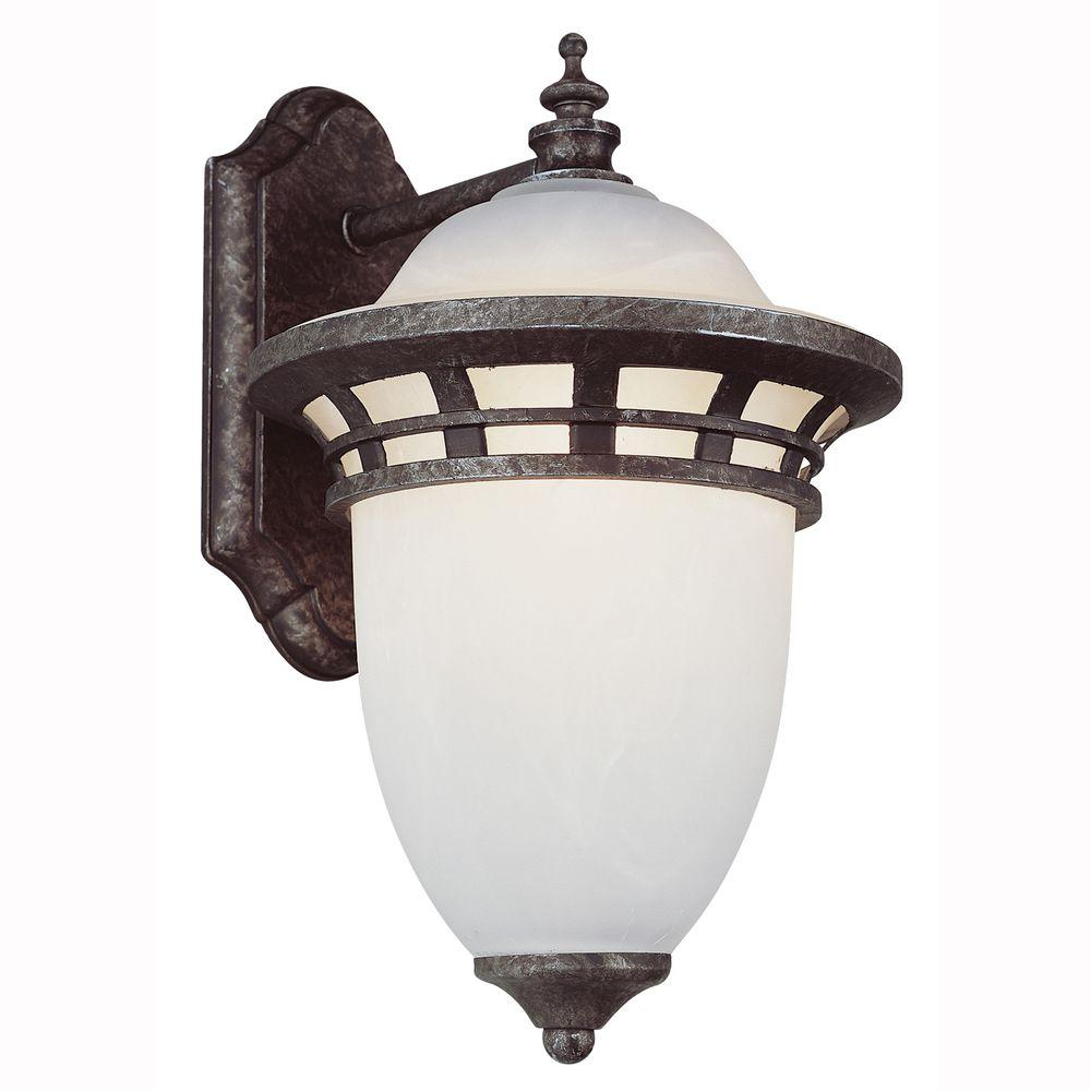 Energy Saving 1 Light Outdoor Antique Pewter Coach Lantern With Frosted Glass