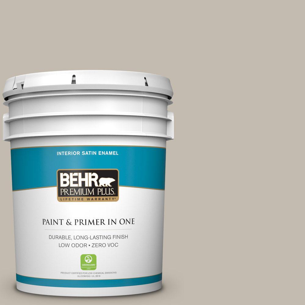 BEHR Premium Plus 5-gal. #ECC-46-1 Sierra Madre Zero VOC Satin Enamel Interior Paint
