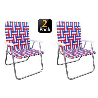 Red/White/Blue Reinforced Aluminum Classic Webbed Folding Lawn/Camp Chair (2-Pack)