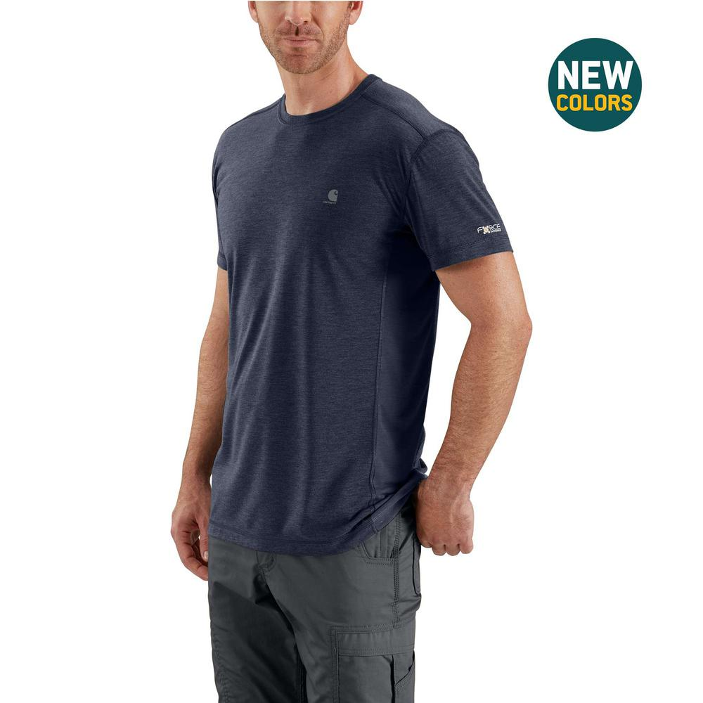 84d7450ea2b1 Carhartt Men's Large Navy Heather Polyester/Cocona Force Extremes Short  Sleeve T-Shirt
