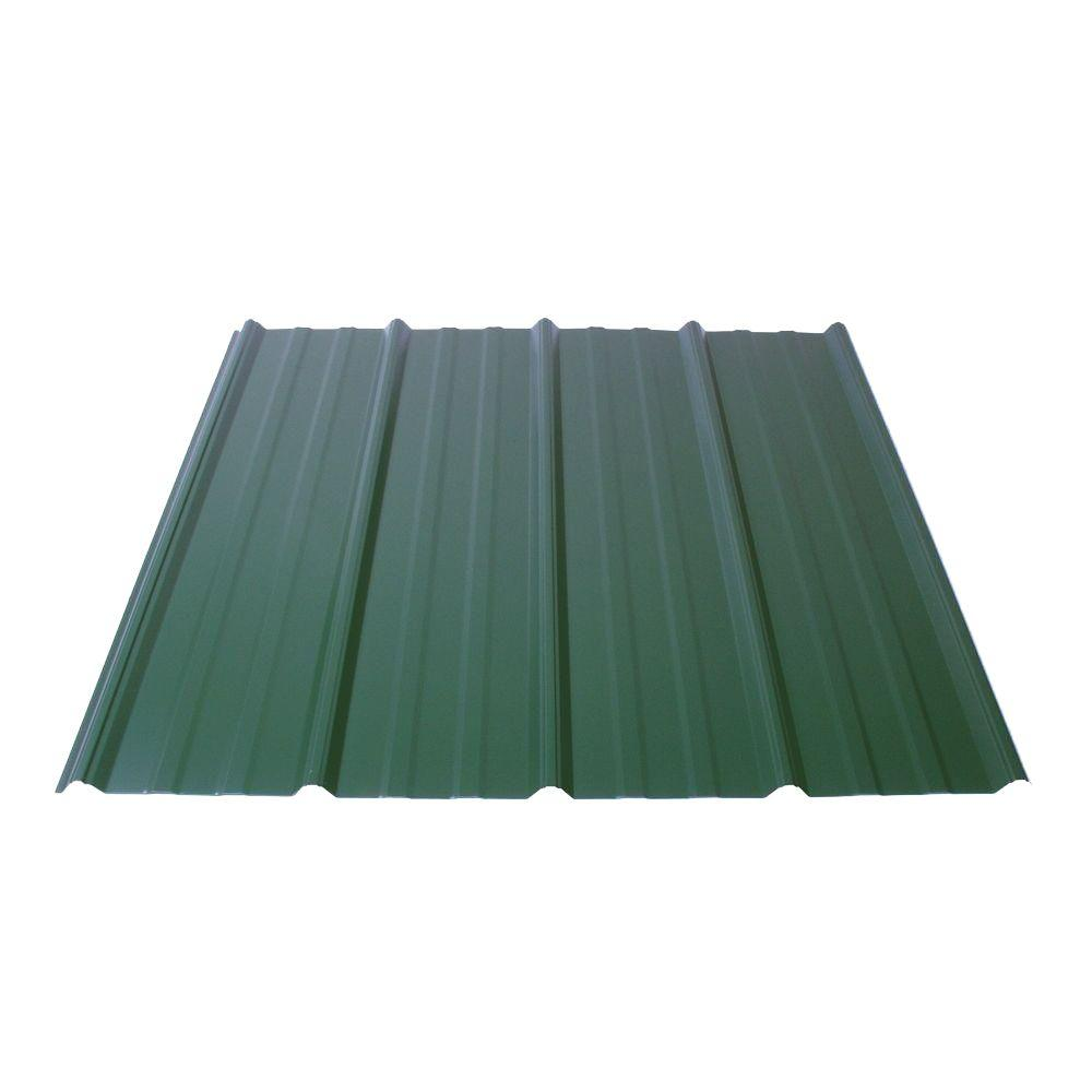Fabral Shelterguard 8 ft. Exposed Fastener Galvanized Steel Roof Panel in Evergreen