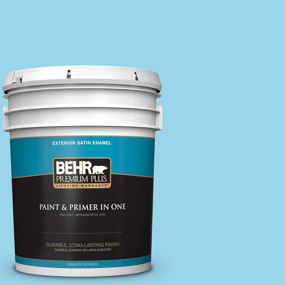 BEHR Premium Plus 5-gal. #P490-2 Blue Sarong Satin Enamel Exterior Paint