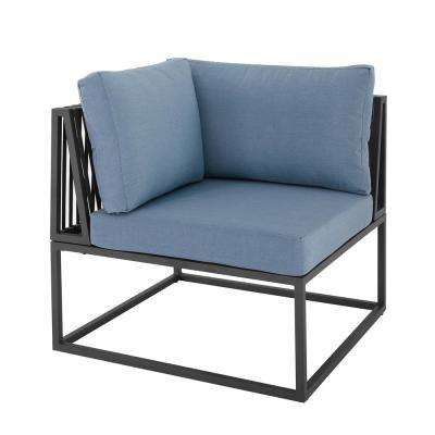 Metal Corner Modern Modular Outdoor Patio Sectional Chair with Blue Cushions