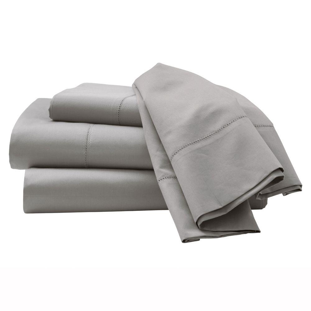 Home Decorators Collection Hemstitched Grant Gray Queen Sheet Set