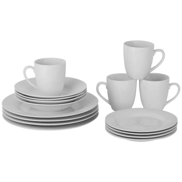 10 Strawberry Street Round 16-Piece Simply White Dinnerware Set SM-1600-RD-W