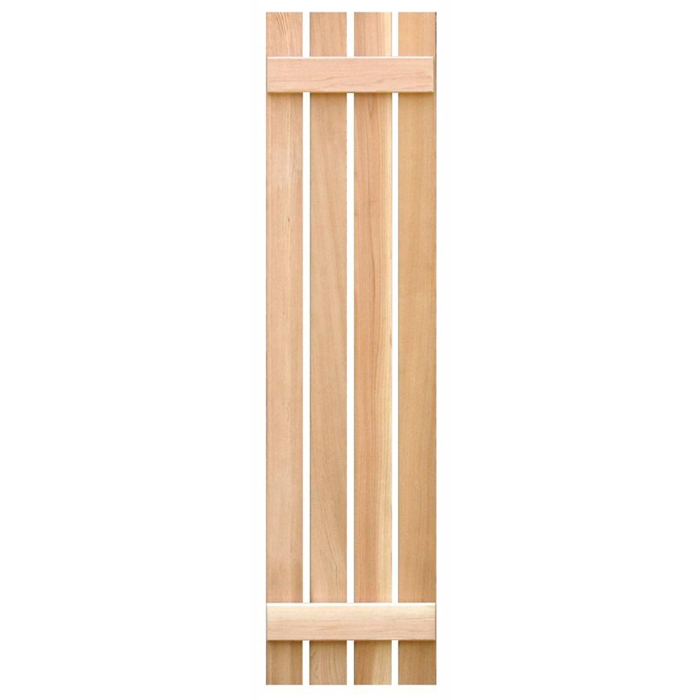 Pinecroft 15 in. x 55 in. Cedar Board & Batten Open Exterior Shutters Pair
