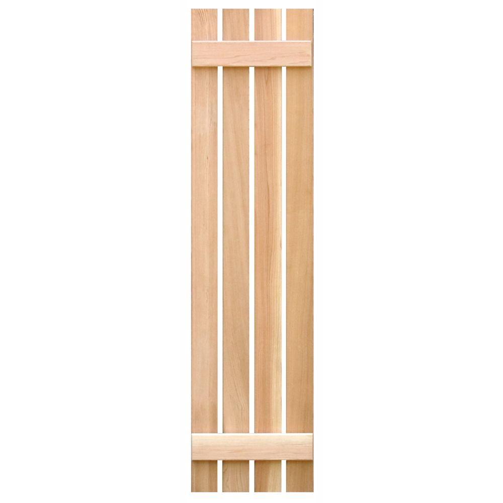 Pinecroft 15 in. x 59 in. Cedar Board & Batten Open Exterior Shutters Pair