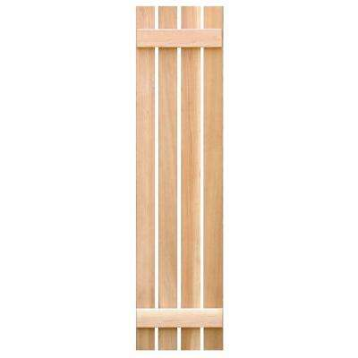 15 in. x 59 in. Pine Board & Batten Open Exterior Shutters Pair