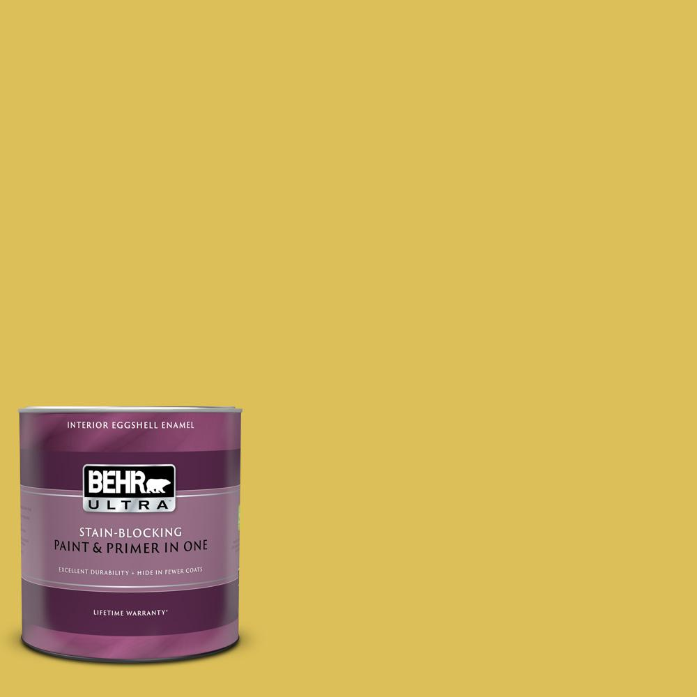 Behr Ultra 1 Qt P320 6 Sulfur Yellow Eggshell Enamel Interior Paint And Primer In One 275304 The Home Depot