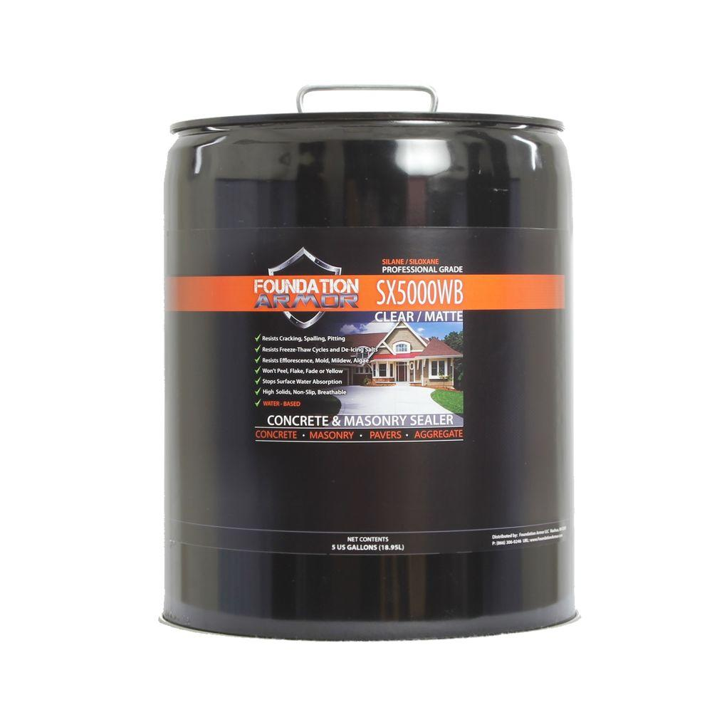 Foundation Armor 5 gal. Penetrating Water Based Silane Siloxane Concrete Sealer, Brick Sealer and Masonry Water Repellent