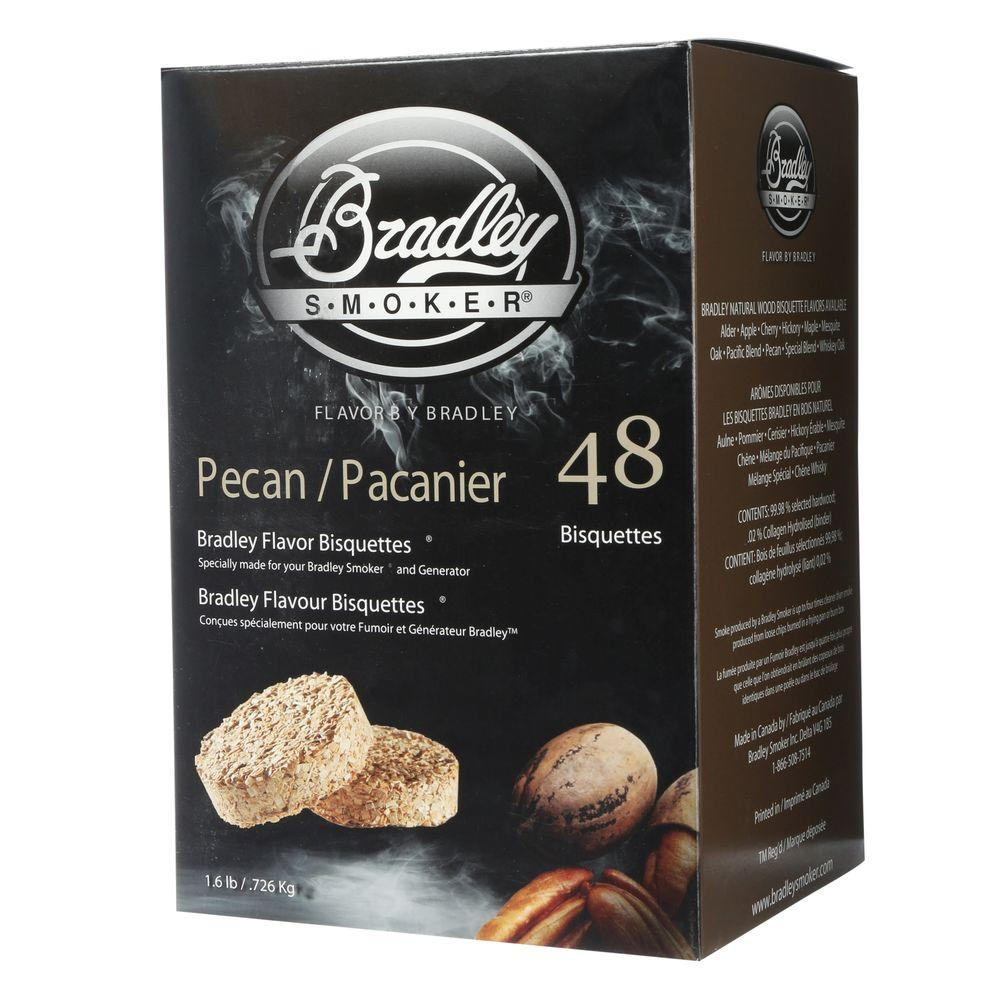 Bradley Smoker Pecan Flavor Bisquettes (48-Pack) Produce smoke continuously for up to 16 hours with the Bradley Smoker Pecan Smoker Bisquettes. The briquettes help you cook great-tasting food by creating a delicious smoky flavor.