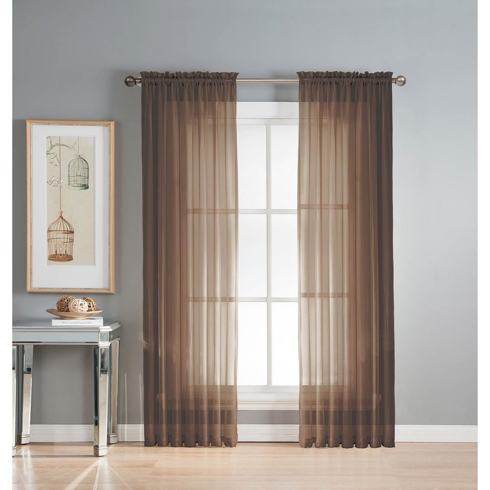 Window Elements Sheer Diamond Sheer 56 in. W x 90 in. L Rod Pocket Extra Wide Curtain Panel in Chocolate