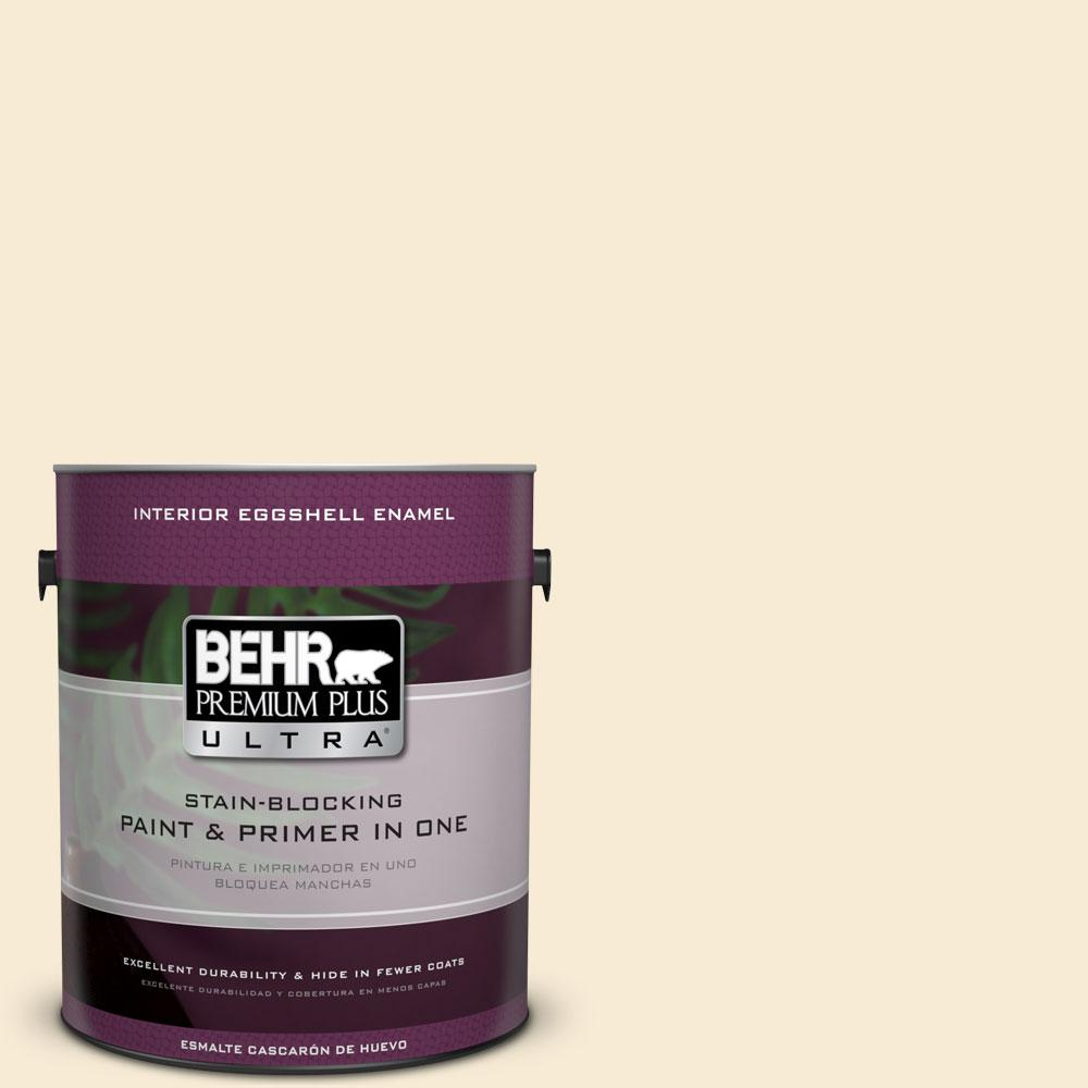 BEHR Premium Plus Ultra 1 gal. #330C-1 Honeysuckle White Eggshell Enamel Interior Paint and Primer in One