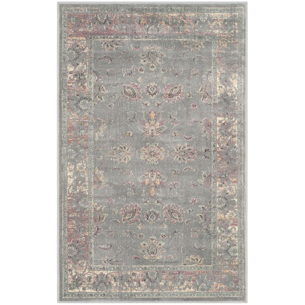 Vintage Gray/Multi 2 ft. 7 in. x 4 ft. Area Rug