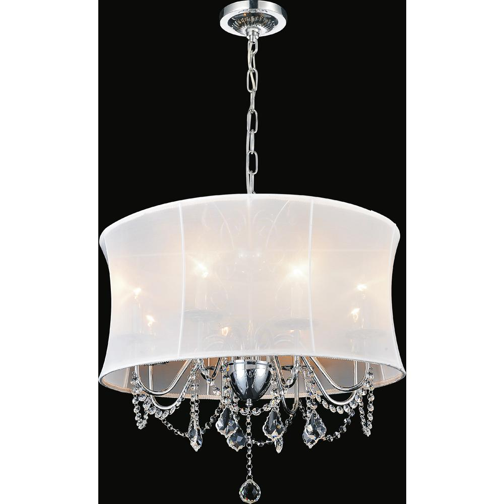 Charlotte 4 light chrome chandelier with white shade 5335p16c white charlotte 4 light chrome chandelier with white shade arubaitofo Image collections