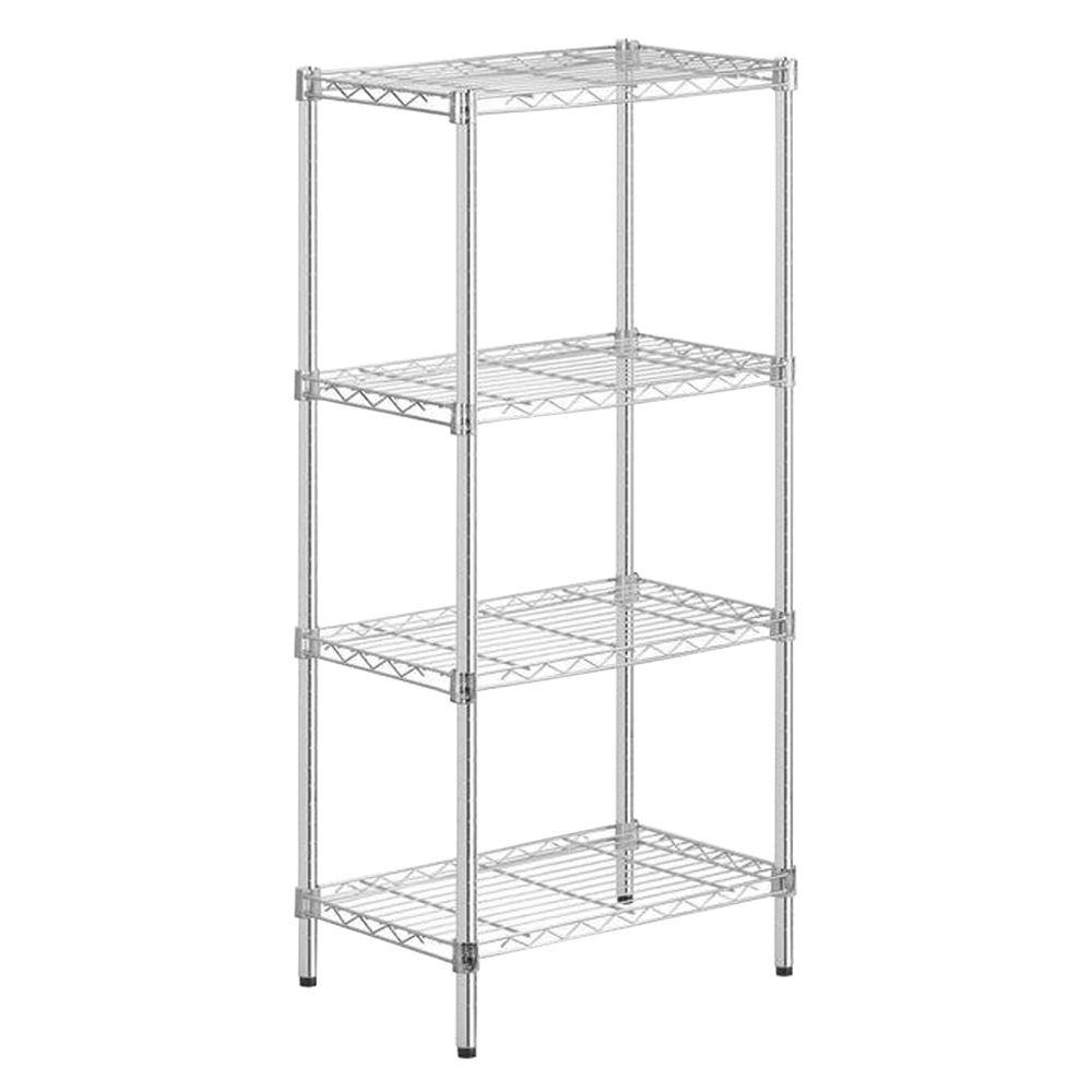 Honey-Can-Do 48 in. H x 24 in. W x 14 in. D 4-Shelf Steel Shelving Unit in Chrome