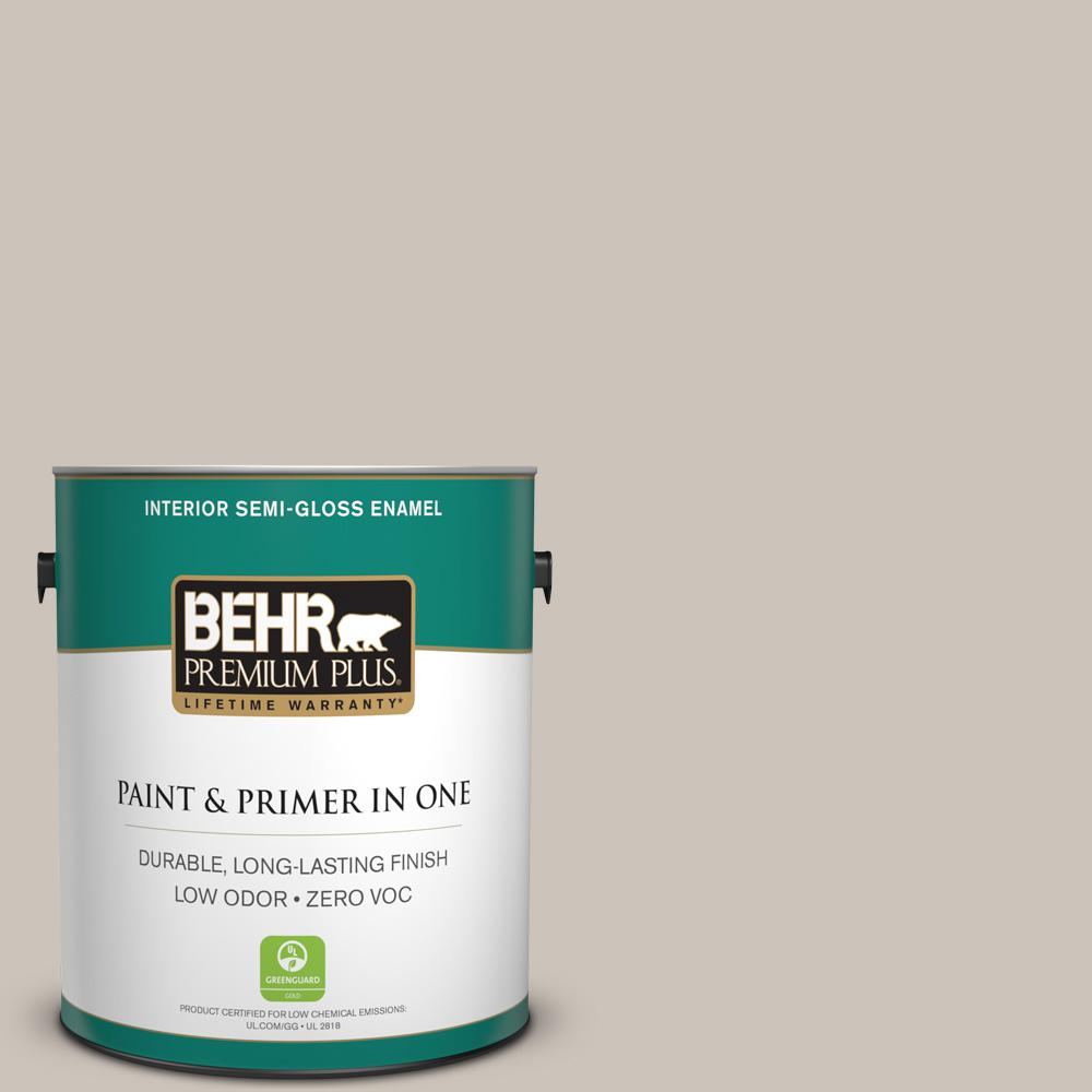 BEHR Premium Plus 1-gal. #N200-2 Doeskin Gray Semi-Gloss Enamel Interior Paint