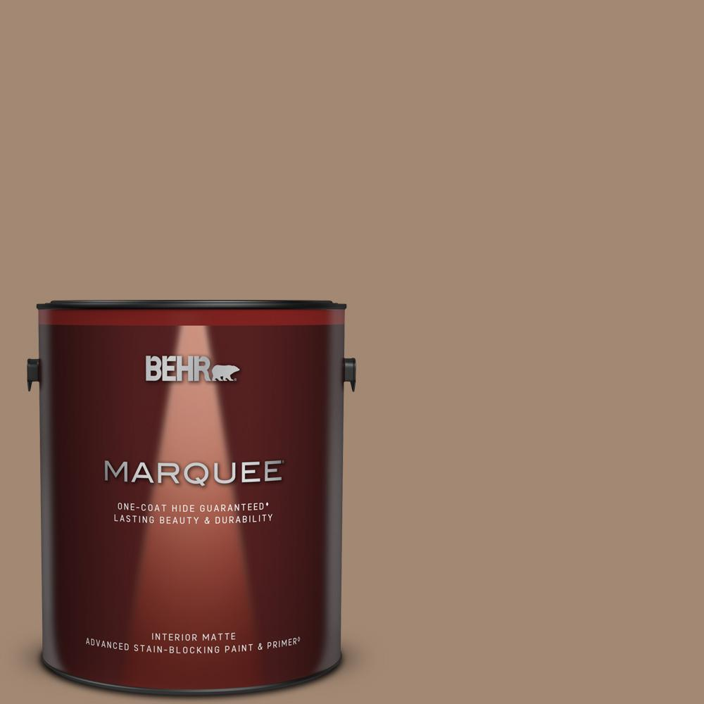 Behr Marquee 1 Gal Qe 22 Terrazzo Brown Matte Interior Paint And Primer In One 145301 The Home Depot