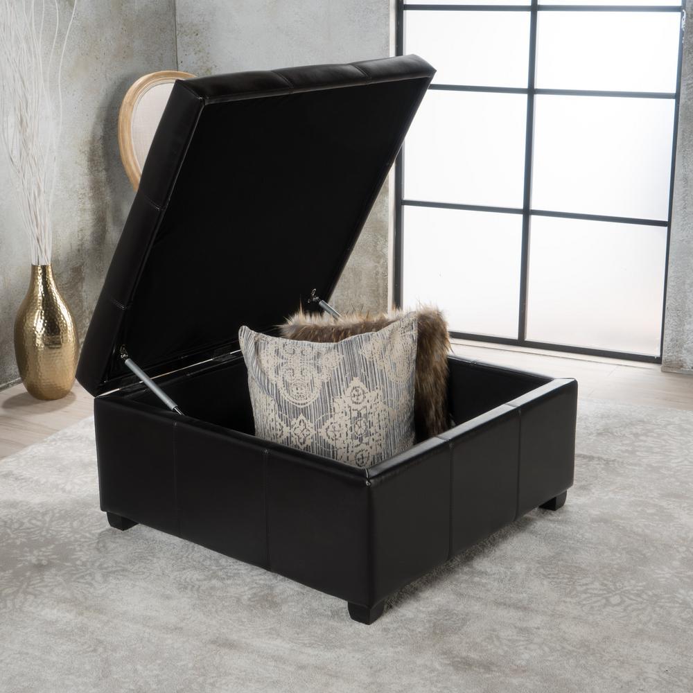 Strange Noble House Carlsbad Espresso Brown Bonded Leather Storage Cjindustries Chair Design For Home Cjindustriesco