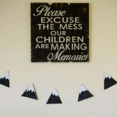 """16 in. x 16 in. """"Please Excuse The Mess"""" by Boulder Innovations Printed Wood Wall Art"""